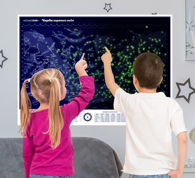 Карта звезд и созвездий,   Светящаяся карта неба 47х75 см