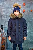 Куртка пуховик удлиненная синего цвета для мальчика (140 см.) Snowimage 6901250513132