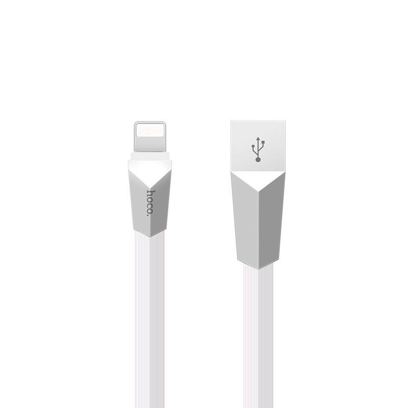USB Cable Hoco X4 Zinc Alloy Rhombic iPhone White 6 1.2 m