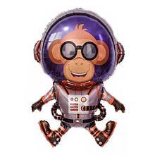 Фольгированный большой шар космическая тема астронавт обезьяна 90*66 см.