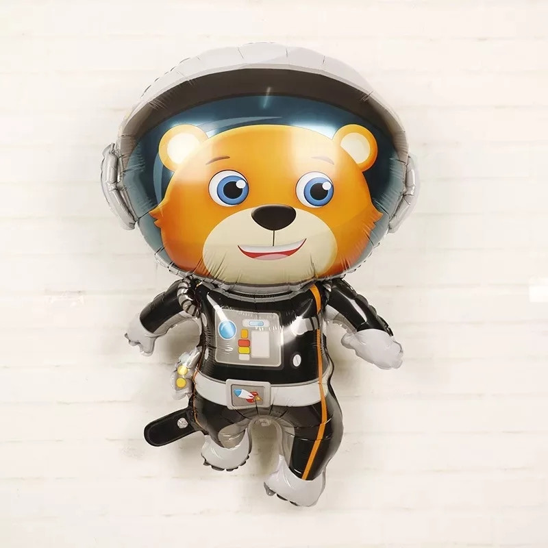 Фольгований великий куля космічна тема космонавт ведмідь 90*66 див.