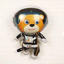 Фольгированный большой шар космическая тема астронавт медведь 90*66 см.
