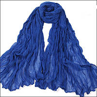 Легкий жатый шарф синий сапфир