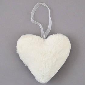 Сердце Yes! Fun пушистое кремово-белое, 15 см