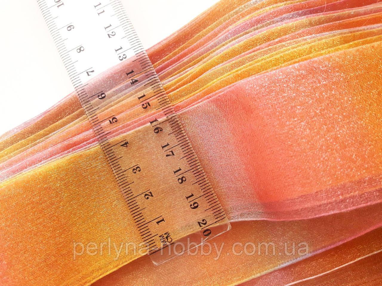 Стрічка капронова, органза, 4 см. Меланж рожевий-жовтий-голубий. Моток 45 метрів