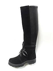 Женские зимние сапоги черные замшевые+вставка стрейч (101365)