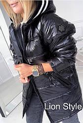 Куртка зимняя теплая, плащевка лак