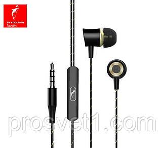 Наушники вакуумные+микрофон 1,2м черные