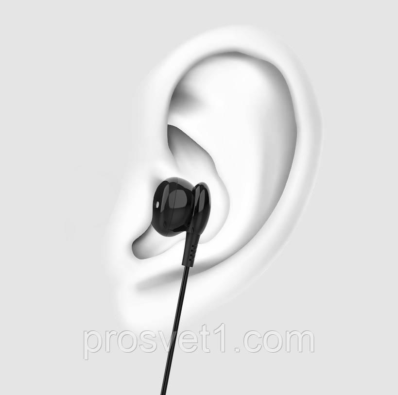 Наушники вкладыши+микрофон 1,2м черные