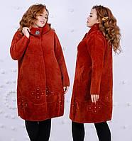 Пальто женское на кнопках из шерсти Альпака р. 52-56 универсал