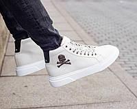 Зимние мужские ботинки Philipp Plein из натуральной кожи белые