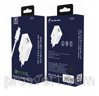 СЗУ 1USB DC5V 3,1A Quick Charge+кабель Micro USB белый
