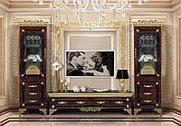 Стенка ТВ Эрмитаж.цвет  коричневый  с золотом.