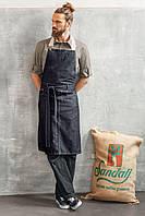 Фартук джинсовый для повара, официанта и бармена TEXSTYLE нагрудный длинный (S)