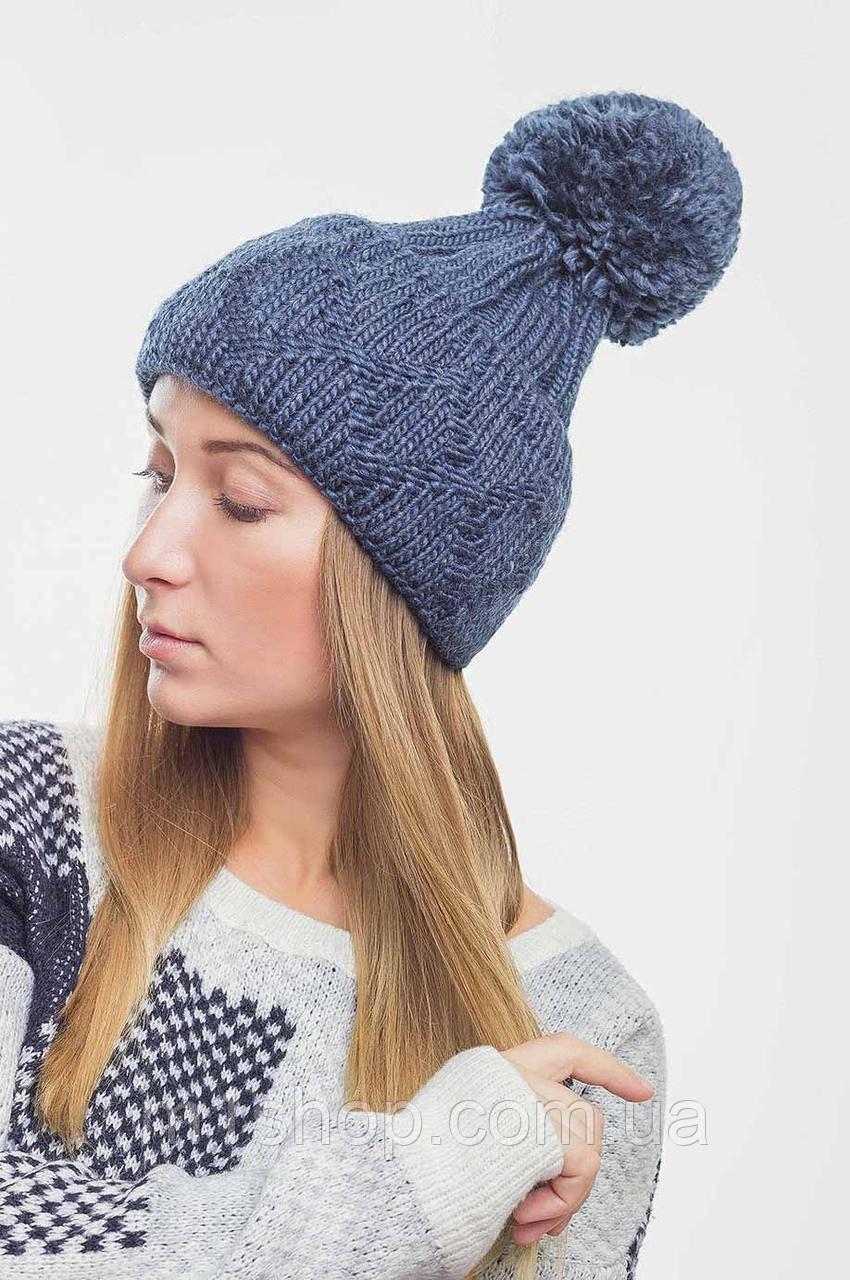 Женская вязаная шапка с большим помпоном (3080 svt)