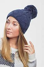 Женская вязаная шапка с большим помпоном (3080 svt), фото 2