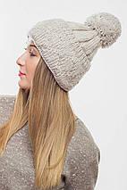 Женская вязаная шапка с большим помпоном (3080 svt), фото 3