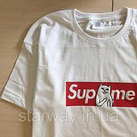 Футболка белая Supreme * RipNDip logo best   Стильная