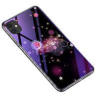 Чехол-накладка TPU+Glass Fantasy с глянцевыми торцами для iPhone 11 Pro Max (Пузырьки и цветы)