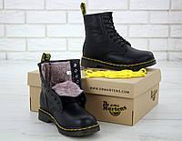 Мужские зимние ботинки Dr. Martens 1460 Black Fur Logo / Доктор Мартинс, черные С МЕХОМ