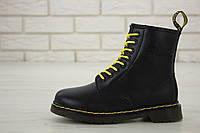 Женские зимние ботинки Dr. Martens 1460 Black Fur Logo / Доктор Мартинс, черные С МЕХОМ