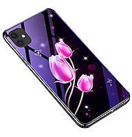 Чехол-накладка TPU+Glass Fantasy с глянцевыми торцами для iPhone 11 Pro Max (Тюльпаны)