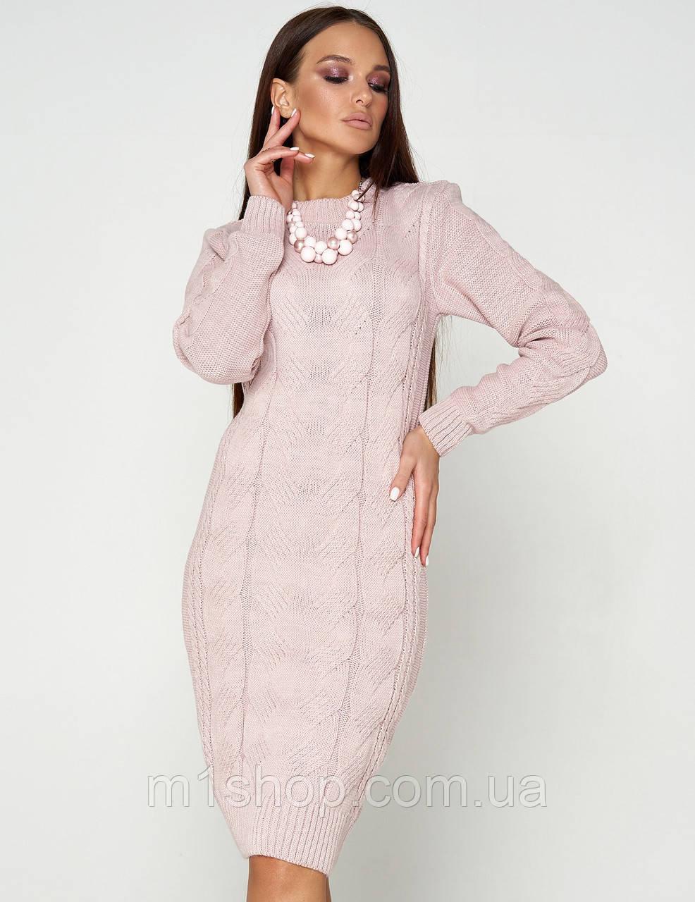Женское теплое вязаное платье-футляр (Кемер 07jd)