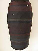 Зимняя теплая юбка карандаш в оригинальную широкую полосу р.46,48,50,54 код 2766М