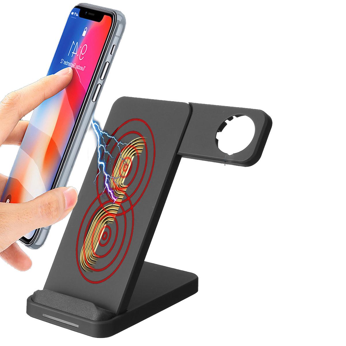 10W Dual Coils Qi Беспроводное зарядное устройство Быстрая зарядка + Держатель для часов для смартфона с поддержкой Qi iPhone Samsung Apple Watch -