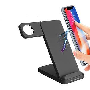 10W Dual Coils Qi Беспроводное зарядное устройство Быстрая зарядка + Держатель для часов для смартфона с поддержкой Qi iPhone Samsung Apple Watch -, фото 2