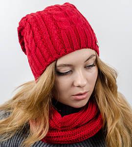 """Комплект """"Имбирь"""", шапка+бафф, (Красный)"""