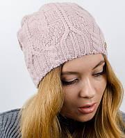 "Вязаная женская шапка, ""Лиана"" (Пудра)"