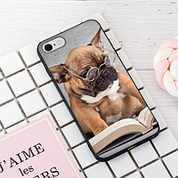 """Винтажный чехол накладка для iPhone 7plus, 8plus. """"Умный пёс"""". Силиконовый бампер для айфон."""