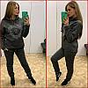 Теплый спортивный костюм ~Shine~ серый (графит)