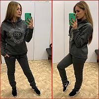 Теплый спортивный костюм ~Shine~ серый (графит), фото 1