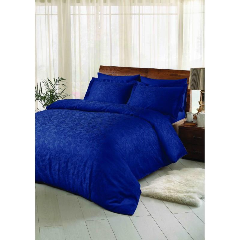 Постельное белье Tac жаккард - Brinley lacivert синий евро