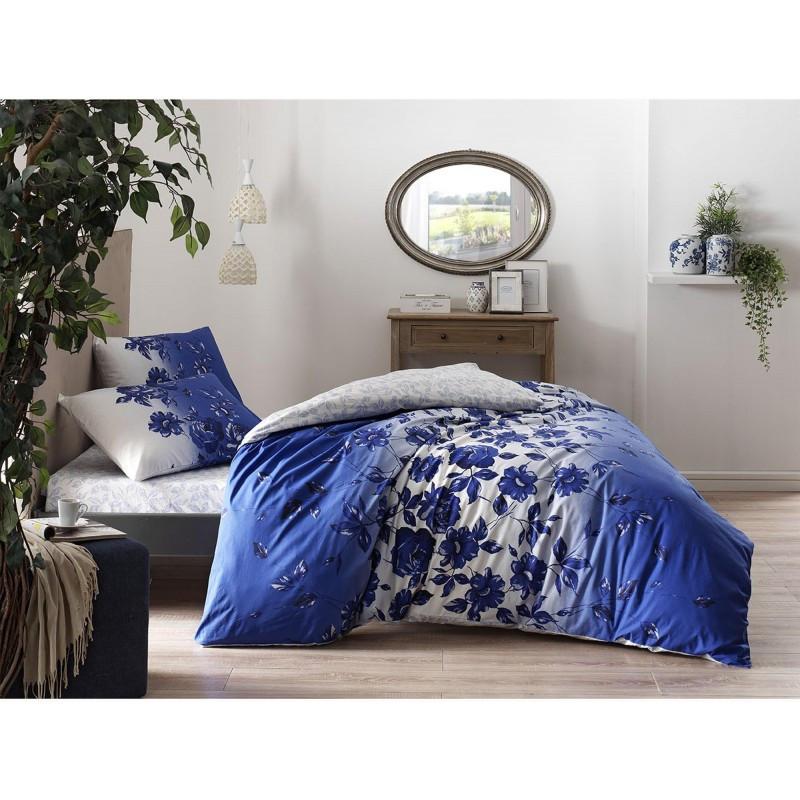 Постельное белье Tac ранфорс - Lizzy mavi v01 голубой евро