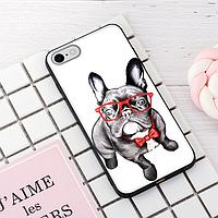 """Винтажный чехол накладка для iPhone 7plus, 8plus. """"Пёс на стиле"""". Силиконовый бампер для айфон."""