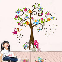 """Виниловые наклейки на стену, украшения стены в детскую """"Цветущее дерево и феи"""" 88см*120см (лист 60см*90см)"""
