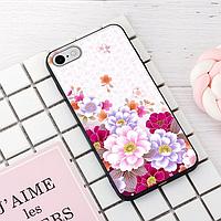 """Винтажный чехол накладка для iPhone 7, 8. """"Цветы"""". Силиконовый бампер для айфон."""