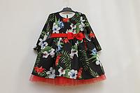 Нарядное платье на девочку № 60 с рукавами и красным фатином
