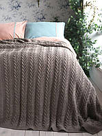 Плед - покрывало вязаное  220x240 BETIRES BREMEN MINK коричневое
