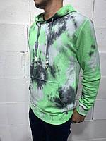 Худи толстовка с капюшоном мужская, зеленая на зиму, повседневная одежда