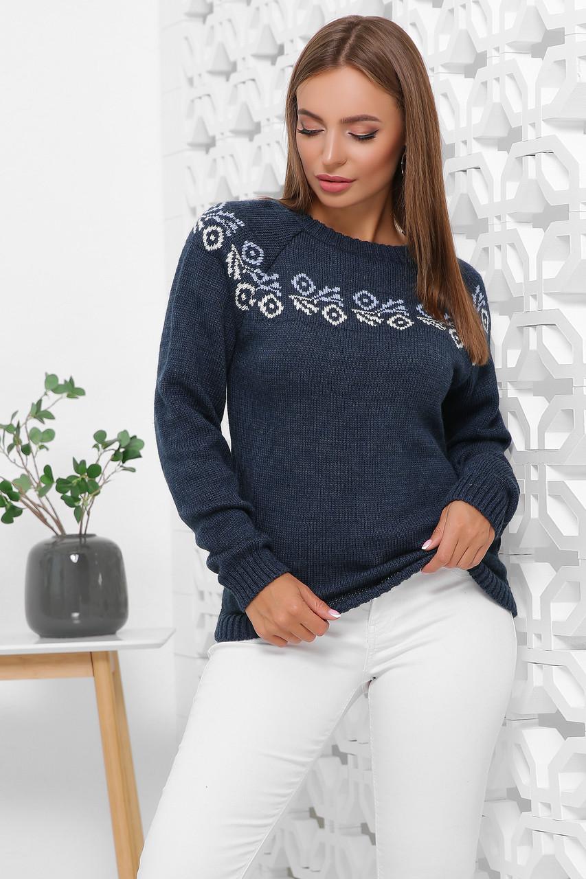 Полушерстяной женский свитер Оксана-4 с арнаметром