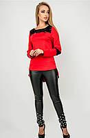 Женская туника комбинированная гипюром красный, 48
