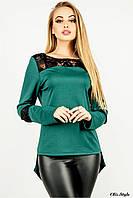 Женская туника комбинированная гипюром зеленый, 50