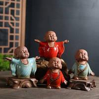 Китайский Монах статуэтка сувенир 10х9см Ручная работа, Керамика