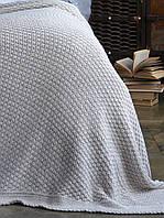 Плед - покрывало вязаное 220*240  BETIRES DENIZ BEIGE (50% хлопок, 50% акрил) бежевое