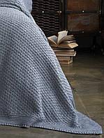 Плед - покрывало вязаное 220x240 BETIRES DENIZ GREY (50% хлопок, 50% акрил) серое