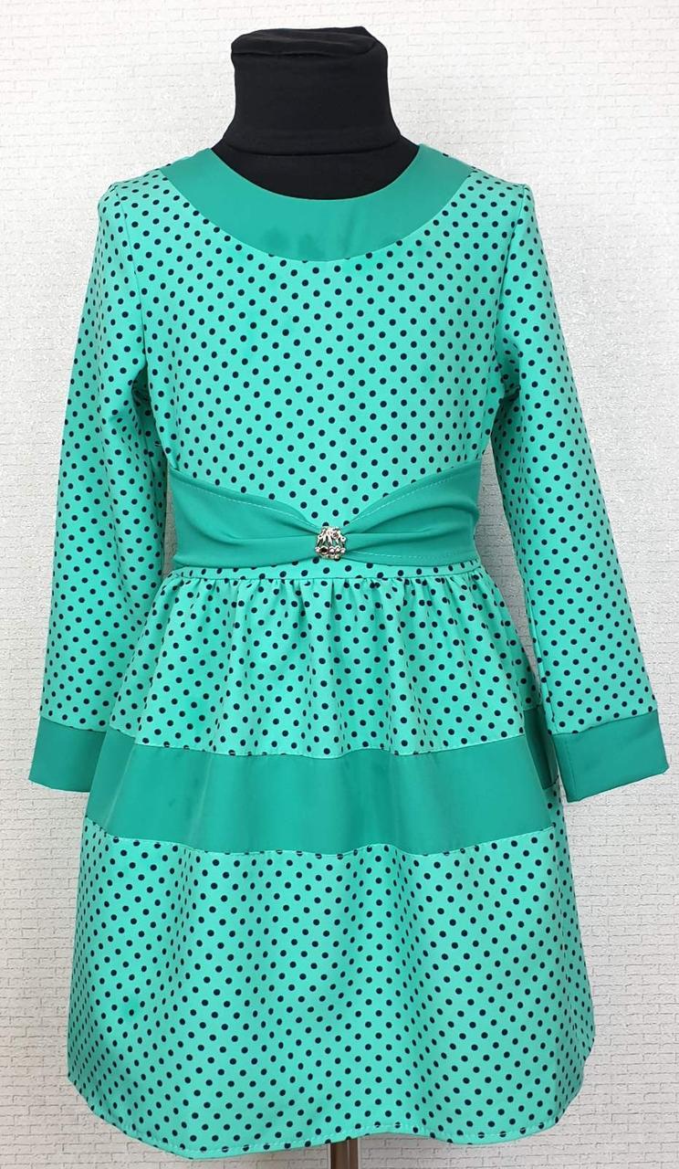 Платье для девочки детское в горошек р. 116-134 опт мята